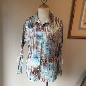 Komarov silk crinkle blouse. Size L